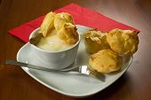 stock photo of cream puff  - The filling is a sweet little puffs composed of a shell of choux pastry filled with cream - JPG