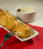 image of cream puff  - The filling is a sweet little puffs composed of a shell of choux pastry filled with cream - JPG