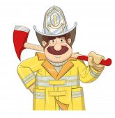 picture of ax  - Fireman in uniform with ax - JPG