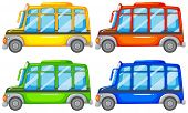 stock photo of four-wheel drive  - Set of four mini buses - JPG