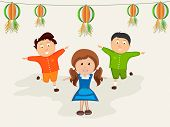 foto of indian independence day  - Cute little kids celebrating on occasion of Indian Republic Day or Independence Day with hanging balls in national flag colors - JPG