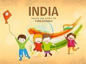 stock photo of indian independence day  - Cute little kids celebrating Indian Republic Day and Independence Day with kite - JPG