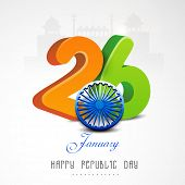 image of indian independence day  - Glossy 3D text of 26 January with Ashoka Wheel for Happy Indian Republic Day celebration on historical monuments background - JPG