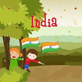 foto of indian independence day  - Cute little kids holding national flag and enjoying on occasion of Indian Republic Day and Independence Day on nature view background - JPG