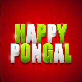 picture of pongal  - Poster or banner design for South Indian harvesting festival celebrations with colorful 3D text Happy Pongal on shiny red background - JPG