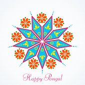 pic of rangoli  - Beautiful greeting card design with colorful rangoli for South Indian harvesting festival - JPG