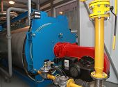 stock photo of boiler  - The gas equipment of the boiler in modern boiler - JPG