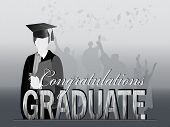 image of congrats  - Graduates in silhouette with congrats and mortars flying - JPG