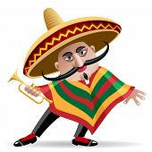 picture of sombrero  - illustration of mexican musician in sombrero with trumpet drawn in cartoon style - JPG