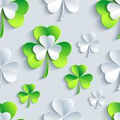 pic of clover  - Beautiful background seamless pattern with grey and green stylized 3d leaf clover for st - JPG