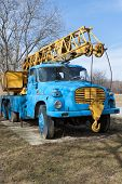picture of crane hook  - Rusty old mobile crane with big hook - JPG
