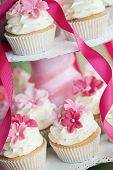 foto of sugar paste  - Cup cakes decorated with pink sugar flowers - JPG
