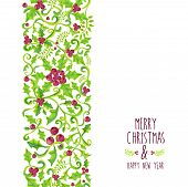 image of holly  - Merry christmas holly berry seamless pattern - JPG