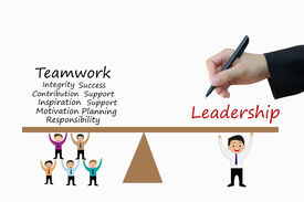 stock photo of leadership  - Drawing of leadership and teamwork of business concept - JPG