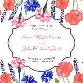 stock photo of sweet pea  - Watercolor painted wedding invitation - JPG