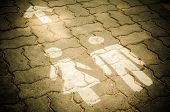 picture of toilet  - Sign of public toilets WC on the floor - JPG