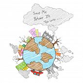 picture of save earth  - illustration of save Earth concept for Earth Day - JPG