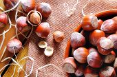 image of shells  - Group of appetizing hazelnuts in shell and shelled on a wooden table top view - JPG