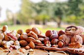 stock photo of shells  - Group tasty nuts in shell and shelled on a wooden table in the field front view - JPG