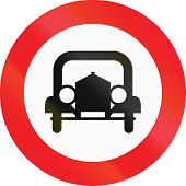 stock photo of motor vehicles  - Austrian sign prohibiting thoroughfare for all motor vehicles  - JPG