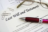 image of deceased  - Last Will and Testament documents with pen etc