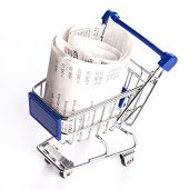 picture of receipt  - Shopping trolley with receipts isolated on white background - JPG