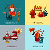 stock photo of firefighter  - Professional firefighter design concept set with transport and inventory icons isolated vector illustration - JPG
