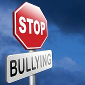 stock photo of stop bully  - stop bullying prevention for no bullies at school work or in the cyber internet - JPG