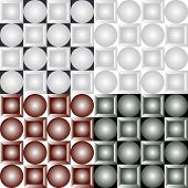 picture of quadrangles  - Seamless patterns from a set of colored squares with balls - JPG