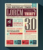 picture of newspaper  - Happy Birthday Party card vector design layout in newspaper style - JPG