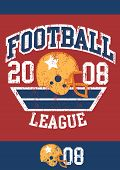 image of iron star  - Distressed football league poster with helmet  - JPG