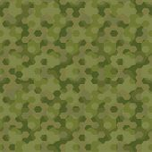 stock photo of camouflage  - Camouflage geometric hexagon background seamless pattern  - JPG