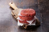 picture of hamburger-steak  - Raw Ground beef meat Burger steak cutlets on dark wooden background - JPG