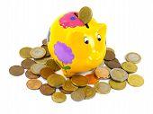 image of depreciation  - A piggy bank or a money box with euro coins over white - JPG
