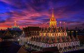 stock photo of metal sculpture  - Metallic castle in Wat Phra Kaew area with morning sunrise in Bangkok Thailand - JPG