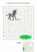 stock photo of pastures  - Maze game for kids - JPG