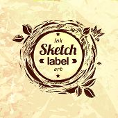 picture of food logo  - Natural product sketched stamp - JPG