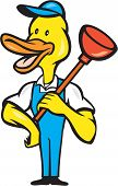 foto of plunger  - Cartoon style illustration of a duck plumber standing holding plunger on shoulder looking to the side viewed from front set on isolated white background - JPG