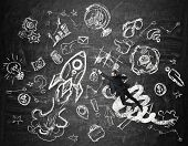 stock photo of prosperity  - Young prosperous man is flying over the wall with drawings - JPG