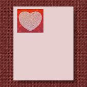 picture of marsala  - Writing paper with marsala knitted background and pink paper with love for mother - JPG