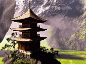 picture of buddhist  - buddhist temple in Chinese mountains - JPG