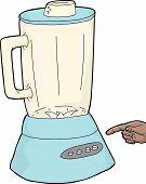 image of blender  - Finger pressing button on isolated blue blender - JPG