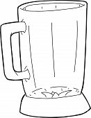 image of blender  - Single open glass blender jar as outlined illustration - JPG