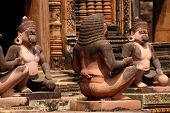 pic of guardian  - Monkey guardians outside temple at Banteay Srei Cambodia - JPG