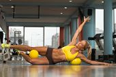 picture of pilates  - Aerobics Pilates Woman With Yoga Balls On Fitness Class