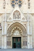 picture of blessed  - Main entrance to the Cathedral of Assumption of the Blessed Virgin Mary in Zagreb Croatia - JPG