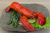 picture of lobster tail  - Red boiled lobster with thyme and rosemary - JPG