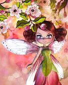 stock photo of fairy tail  - Colorful illustration of blooming sakura branches and cute fairy - JPG