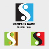 image of ying-yang  - Ying yang sign icon with Square symbol balance icon S letter sign - JPG
