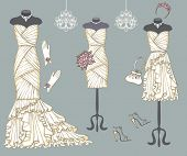 stock photo of bridal shower  - Vintage composition of  three female - JPG